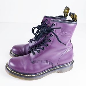 Dr Martens Smooth 1460 Purple Combat 8-Eyelet Boot